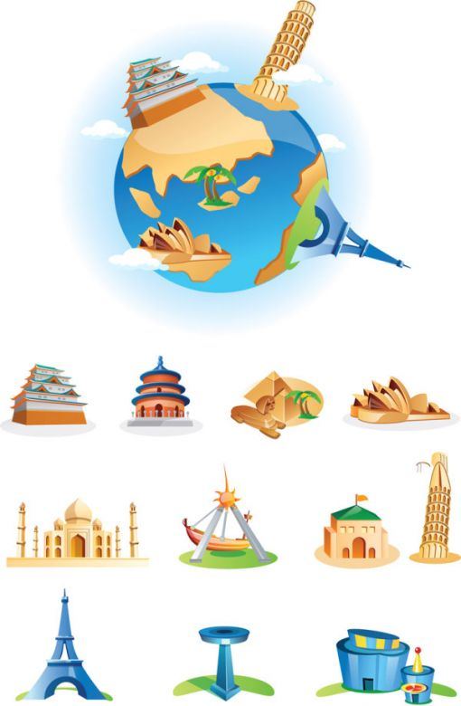 World Landmarks Cartoon