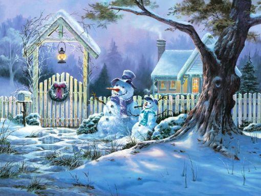 雪だるまとクリスマスの日