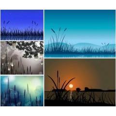 風流を感じる四季の夜 ベクター素材