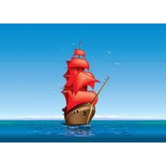 冒険の旅へ航海中の船 ベクター素材