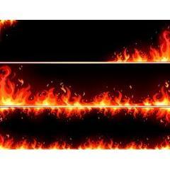 メラメラ燃えるファイアーバナーデザイン ベクター素材