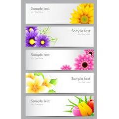鮮やかな花のバナーデザイン ベクター素材