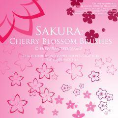 春に咲く桜を12パターン描けるフォトショップブラシ素材