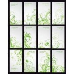 草木の螺旋が美しいグリーンフローラルカード ベクター素材