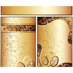 黄金に輝く装飾デザイン ベクター素材
