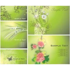 草木と緑のグラデーションが美しい イラストレーターベクター素材