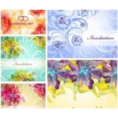抽象的な花模様のウエディングカード イラストレーターベクター素材