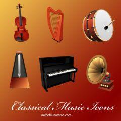 クラシックな音楽関連アイコンを集めたセット