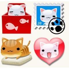 可愛い猫のキャラクターアイコン素材