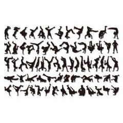 ブレイクダンスのシルエットデザイン ベクター素材