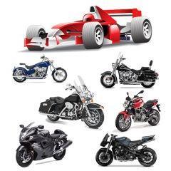F1フォーミュラーとモーターバイクアイコン素材
