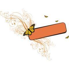 フローラルと蝶々が素敵なフレームデザイン ベクター素材