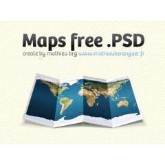 折り目のついた世界地図 フォトショップPSD素材