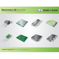高精度なメモリやチップの電気回路アイコン素材