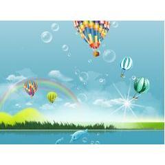 美しい気球と自然 フォトショップPSD素材