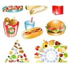 健康食品やファーストフードのベクターデザイン素材