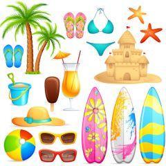 海辺でよく使われる夏アイコン! ベクター素材
