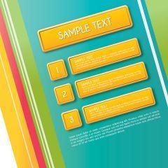 ストライプと黄色のボタンデザインが素敵なグラフィックデザイン