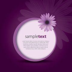 紫と花のメッセージフレームベクター素材