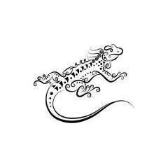トカゲのタトゥーデザイン ベクター素材