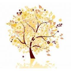 秋の季節を感じさせるツリーデザイン ベクター素材