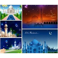 イスラム教の礼拝堂モスクのグラフィックデザイン素材