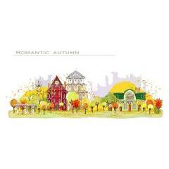 秋色を感じる町並み イラストレーターベクター素材