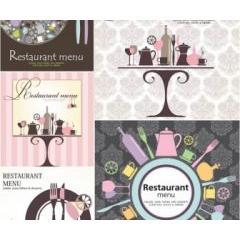 色使いが本当にお洒落な!レストランメニュデザイン ベクター素材