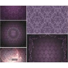 紫野ダマスクパターン ベクター素材