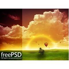 夕日になびく自然と気球 フォトショップPSD素材