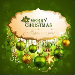 最高に気品があるグリーンクリスマスのイルミネーション ベクター素材