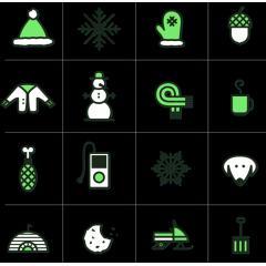 とても可愛い冬用のwinter icons ベクター素材