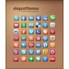 シンプルだけどどんなデザインにも合いそうなきれいなソーシャルメディアアイコン