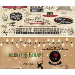 ビンテージクリスマスのデコレーション ベクター素材