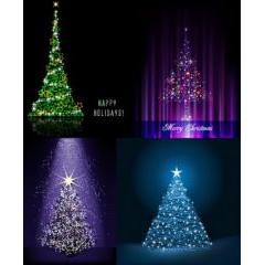 キラキラと大人の輝き クリスマスツリーベクター素材