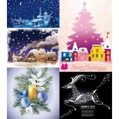 冬のクリスマスの町並み ベクター素材