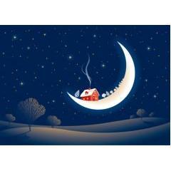 メルヘン国のお月様とお家、聖なる夜 ベクター素材