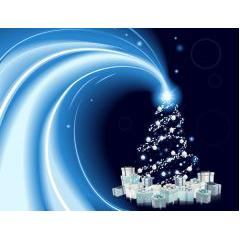 彗星のごとく現れたようなクリスマスツリー ベクター素材