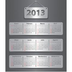 クールで見やすい!2013年カレンダー ベクター素材