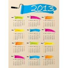 アート風の2013年カレンダー ベクター素材