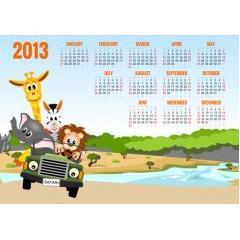 可愛い動物の2013年カレンダー ベクター素材