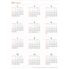 2013-2014年 年間カレンダー 【1月・4月始まり】 【A4・A3】