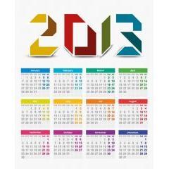 とても見やすい2013年カレンダー ベクター素材