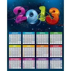 2013年カラフルでも落ち着きのあるカレンダー ベクター素材