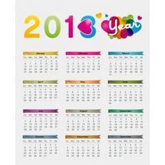 キュートで遊び心のある2013カレンダー ベクター素材