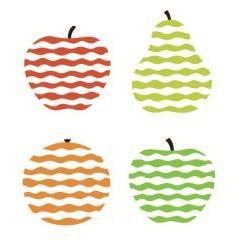 波線で描かれたフルーツたち ベクター素材