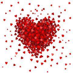 小さいハートがちりばめられた大きなバレンタイン ベクター素材