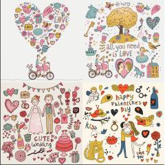 ほのぼのしているイラストで描かれたバレンタインデー ベクター素材