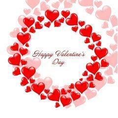 バレンタインデーを彩るハートで描かれた花輪 ベクター素材
