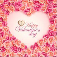 花びらに囲まれたバレンタインカードデザイン ベクター素材